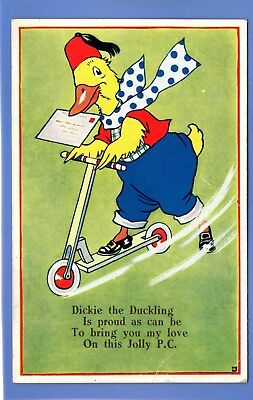 Old Vintage Postcard Dickie The Duckling Duck On A Scooter By Kenneth Lovell