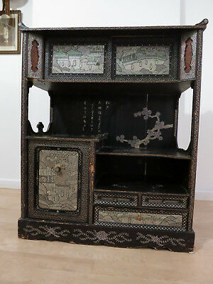 Rare Japanese Inlaid Lacquer Cha Tansu (tea display cabinet)- my family estate
