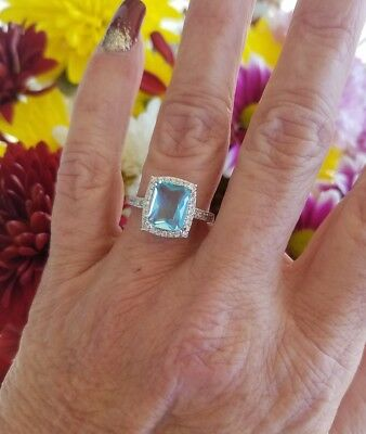 Emerald Cambodian Oval Blue Zircon W/Oval Cut Halo Ring, Sterling silver, Size 7