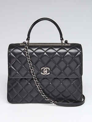 1462175a5002 CHANEL BLACK QUILTED Lambskin Leather Large Trendy CC Flap Bag ...