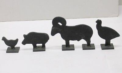 Old Cast Iron Antique Shooting Target Animal Set Ram Turkey Duck Boar Metal