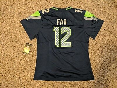 12TH MAN FAN #12 Seattle Seahawks Blue Jersey Women's Large