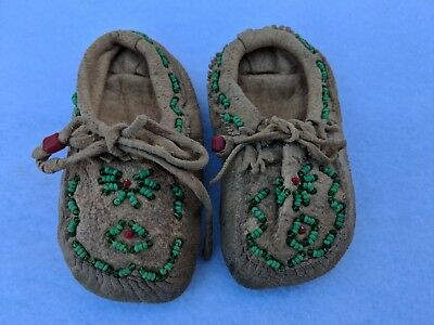 Vintage Antique Hand Beaded Leather Baby Moccasins