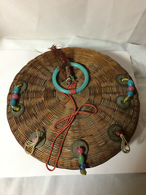 "Vintage Antique Chinese Sewing Basket 9"" - with beads"