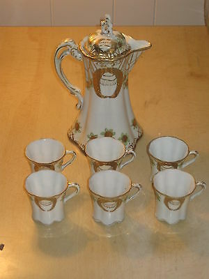 Vintage Hand Painted Nippon 7 pc Chocolate Tea Set + cups Porcelain GOLD Floral