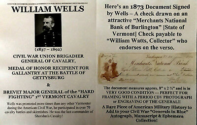 CIVIL WAR GETTYSBURG GENERAL 1st VERMONT CAVALRY MEDAL HONOR DOCUMENT SIGNED VG!