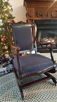 Victorian Platform Carved Rocking Chair Circa 1870