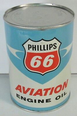 All Tin Vintage Phillips 66 Aviation Engine Oil Can Full Rare