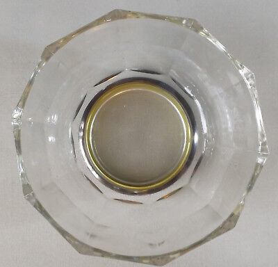HEAVY GLASS BOWL  from  ITALY     Silver Plate Base