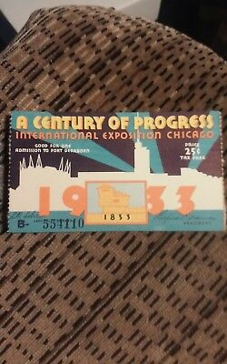 World's Fair 1933 Chicago Ticket - A Century of Progress Exposition