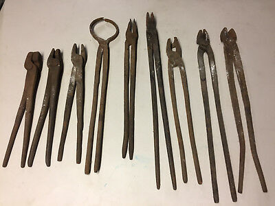 Antique / Vintage Lot of 9 Blacksmith Tools Pliers Tongs - Forged - Anvil Tools