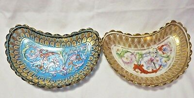 2 Antique Gold Trim Handpainted Glass Dishes Russia ?