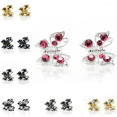 Pair Mini Small Hair Clip Butterfly Clips Claw w/ Rhinestone Crystal Sparkly