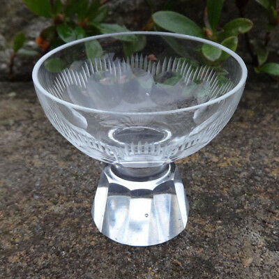Faceted, Etched Glass/Crystal Pedestal Open Salt Dip, Cellar, Dish!