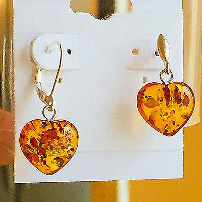 100% Natural Russian Baltic Amber Earrings Heart Old Stone Butterscotch Polish