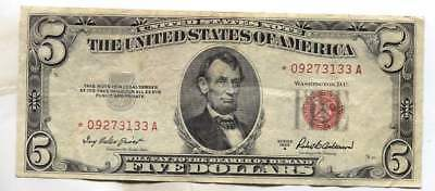 1953 A Red Seal United States STAR Note - $5.00 Bill - American Currency