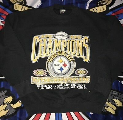 vtg pittsburgh steelers sweatshit super bowl 1996 sz Large