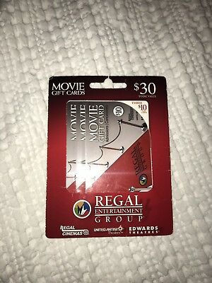 regal entertainment group 3-$10 Gift Cards Worth $30 Total