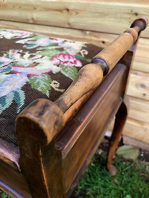Antique Victorian Elm Wood & Tapestry Top Music Sheet Piano Stool Seat c1890