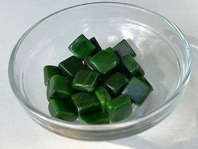 Year-end Clean-out 30 Bakelite 12mm Green Marbled Square Cabochons Beads