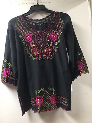 Yucatan Mexican Blouse Top Shirt Black Embroidered Flowers Floral