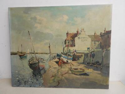 vintage old PAINTING oil sea sail boats WELLS signed COX