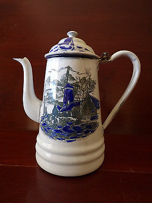 French Antique White and Blue Enameled Coffee Pot with Sea Decor * circa 1930