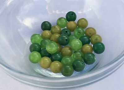Year-end Clean-out 60 Bakelite 7mm Green Trans., Green &Chartreuse Beads W/Holes