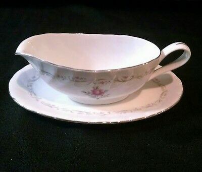 Royal Swirl Fine China of Japan Gravy Boat and Plate