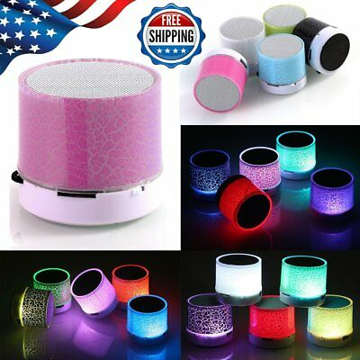 Wireless Bluetooth Speaker Portable Recharegable Colorful LED Stereo USB Player