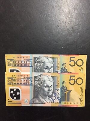 DA $50 Note 2016 AA $50 Note 2016 From Bundle Unc.