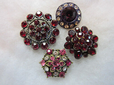 4 Vintage Red/ Purple/ Pink Glass Jewel/ Rhinestone/ In Metal Buttons