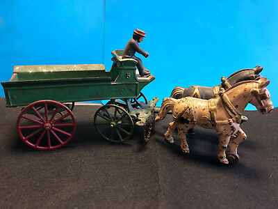 Old Vtg Collectible Cast Iron Kenton Toys Two Horses & Wagon With Driver Ho