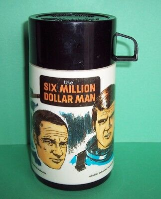 1974 Six 6 Million Dollar Man Lee Ward Aladdin Thermos Universal Studios