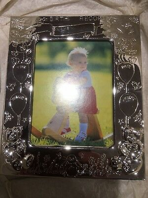 Personalised Silver Plated  Baby Photo Frame Birthday Gift Present 👶10-13cm
