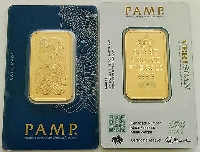 1 oz Gold Bar Pamp Suisse Lady Fortuna Veriscan (In Assay) FREE OVERNIGHT SHIP.