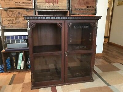 Antique P. Lorillard Tobacco advertising Countertop Store Cabinet-Etched Glass!!