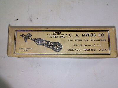 Vintage! C.a. Myers Co., Lock Stitch Leather Sewing Awl, With 3 Needles & Wrench