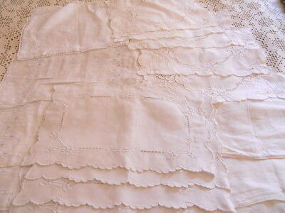 Lot of 20 VINTAGE EMBROIDERED LINEN LACE PLACEMATS