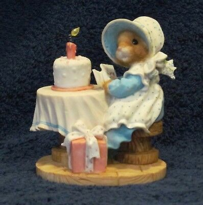 """ENESCO MOUSE TALES MY BLUSHING BUNNIES Figurine """"A Birthday Blessing"""""""