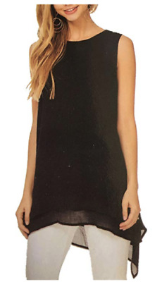 Fever Women's Double Layer Sleeveless Blouse Tank Top-Black