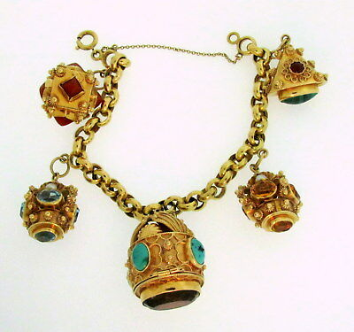 Five Delicious Byzantine Etruscan Gem Charms 1 Opens Rolo Bracelet 18K Gold 7.5""