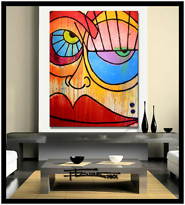 Abstract Painting MODERN CANVAS WALL ART Framed Large Signed USA ELOISExxx