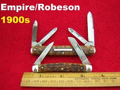 EMPIRE ROBESON (1900s Era) Lot of 2 ~ CONGRESS Knives BONE ⭐⭐Well USED⭐⭐
