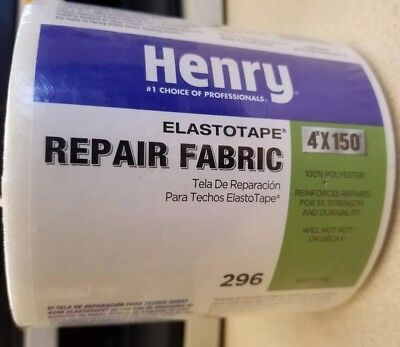 Henry Elastotape 296 Repair Fabric 4 In X 150 foot Roll White NEW