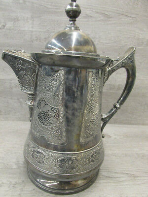 Antique Late 1800's Derby Quadruple Silver Plate Victorian Engraved Ice Pitcher