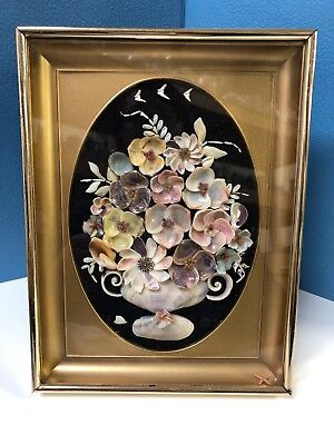 Framed Sea Shell Seashell Art 3D Floral Curved Glass Tabletop Wall Decor Vintage