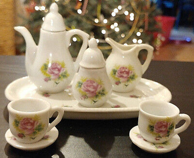 Vintage Miniature Mini Tea Set Purple Floral 10 Pc Porcelain Royal Norfolk