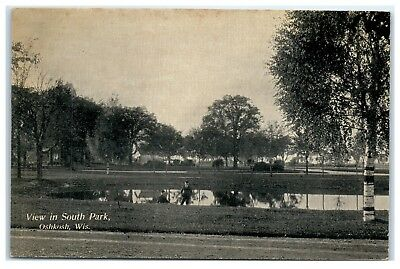View In South Park Oshkosh Wi Private Mailing Card Postcard 8B
