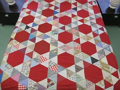 """Vintage GRAPHIC Turkey Red Hexagon Feed Sack HONEYCOMB Quilt TOP; 90"""" x 82"""""""